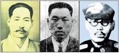 청산리 전투로 잘 알려진 김좌진 장군(왼쪽)은 22세 때 군자금 모금혐의로 체포되어 2년6개월의 옥살이를 했다. 식산은행에 폭탄을 던졌던 나석주(가운데)는 23세 때 북간도로 망명, 신흥무관학교에서 군사훈련을 받았다. 25세 때 일본 육사를 졸업했던 지청전(오른쪽)은 박정희와는 다른 길을 걸었던 '떳떳한 일본 육사 출신 군인'으로 평가받고 있다. 청산리 전투로 잘 알려진 김좌진 장군(왼쪽)은 22세 때 군자금 모금혐의로 체포되어 2년6개월의 옥살이를 했다. 식산은행에 폭탄을 던졌던 나석주(가운데)는 23세 때 북간도로 망명, 신흥무관학교에서 군사훈련을 받았다. 25세 때 일본 육사를 졸업했던 지청전(오른쪽)은 박정희와는 다른 길을 걸었던 '떳떳한 일본 육사 출신 군인'으로 평가받고 있다.